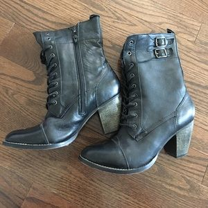 Mia leather lace up booties